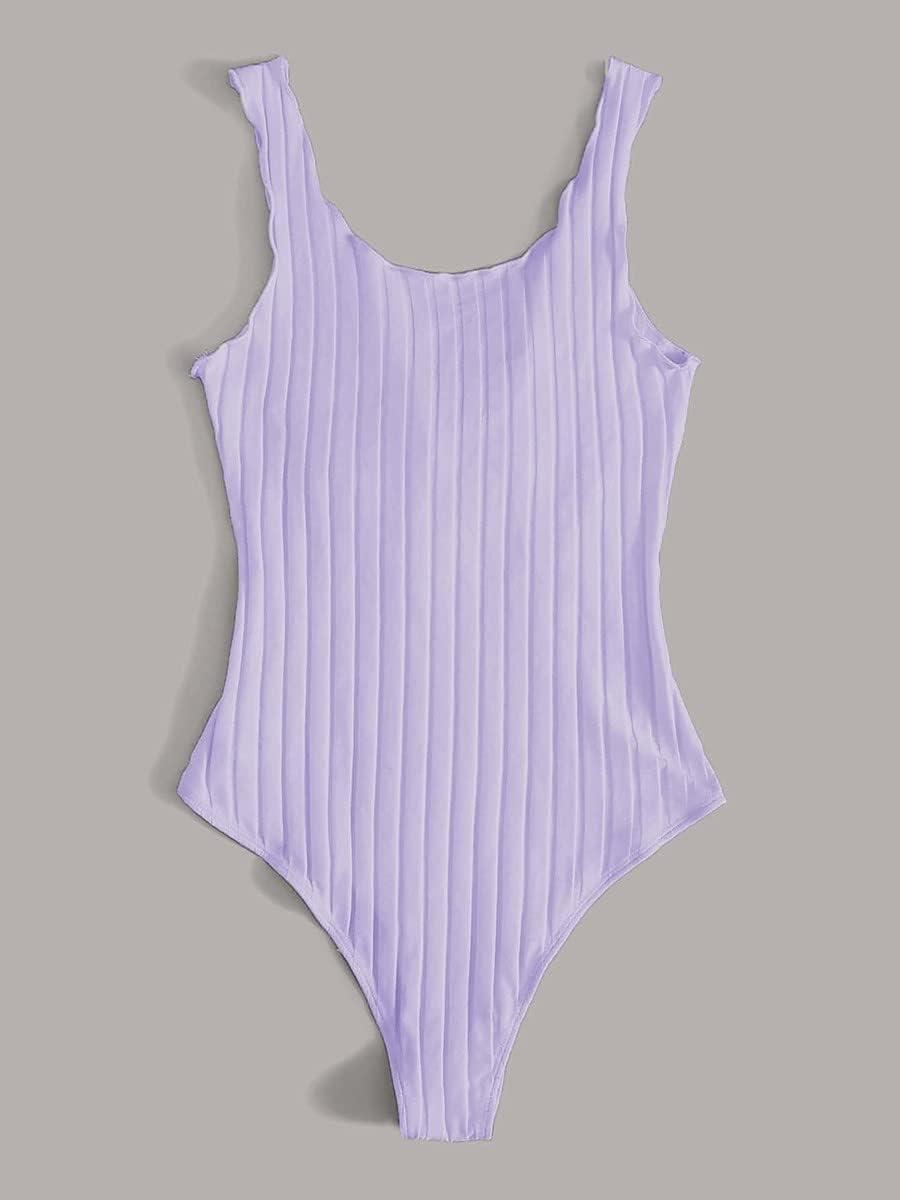 JYMBK Lace Jumpsuit Tie Front Lettuce Edge Rib-Knit Bodysuit (Color : Lilac Purple, Size : M)