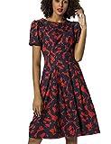 APART Fashion Printed Dress Vestido, Rojo y Azul Nocturno, 42 para Mujer