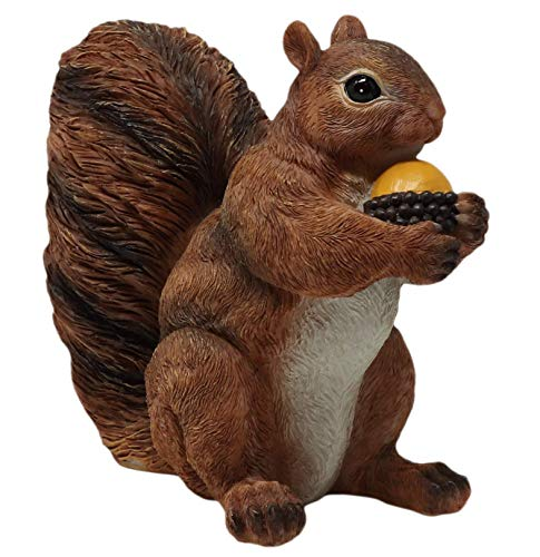 Thorne Antiques & Collectables Realistic Red Squirrel Holding Acorn Ornament (Natural)
