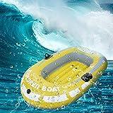 Bote Inflable, Hinchable Pesca Asiento Bote para 2 Personas, Bote de Remos de 188 X 114 Cm con 2 Remos de Aluminio, PVC Inflable para Juegos de Jardín