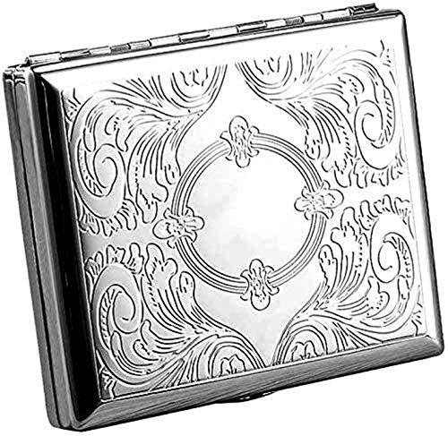 Gymqian Estuche de Cigarrillo Grabado Victoriano Estilo de Metal para el Tamaño Regular, Rey Y 100 (Espejo de 100 Mm) Ligero