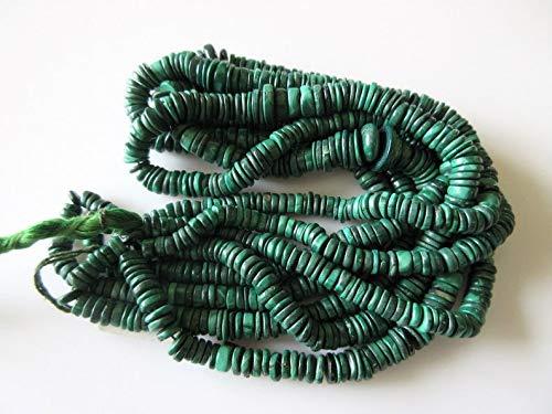LOVEKUSH Collar de cuentas de malaquita para neumáticos, cuentas redondas de malaquita naturales, perlas de 6,5 mm a 10 mm, 19 pulgadas StrandCode-RM1114