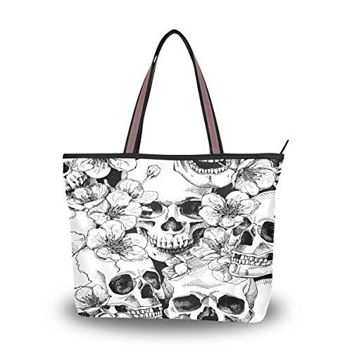 RXYY Handtasche und Geldbörse für Damen, mit Totenkopf-Motiv, Blumen, Kirschen, große Kapazität, Tragegriff oben, Mehrfarbig - mehrfarbig - Größe: Large