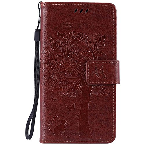 LG Leon 4G LTE H340N/C40 Case, C-Super Mall Embossed Tree Cat Butterfly Pattern PU Leather Wallet Stand Flip Case for LG Leon 4G LTE H340N/C40(Coffee)