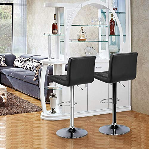 Yaheetech Bar Stools Set of 2 - Modern Adjustable Kitchen Island Chairs Counter Height Barstools Swivel PU Leather Chair Black 30 inches,X-Large Base and Seat