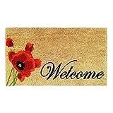 Banzaii Zerbino in Cocco 40 x 70 cm con Retro in PVC Antiscivolo con Stampa Colorata – Welcome Papavero