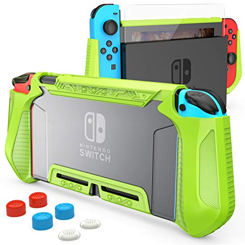 HEYSTOP Case Compatible with Nintendo Switch Case Screen Protector,TPU Protective Heavy Duty Cover Case for Nintendo Switch with Shock Absorption and Anti-Scratch (Transparent Green)