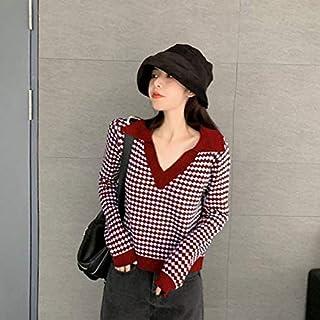 SDJYH suéteres y Jerseys de Mujer Otoño Invierno Jersey de Manga Larga Jersey de Punto Informal 47