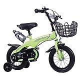 """Bicicletta per bambini Bambini Formazione Bicicletta Bambini Bambino Bici For 2-9 Anni, Nel Formato 12"""" 14"""" 16"""" 18"""" Con La Bottiglia Di Acqua Bicicletta per Bambino ( Color : Green , Size : 18 inch )"""