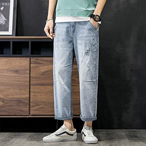 Vaqueros para Jeans Pantalones Vaqueros con Costuras para Hombre, Pantalones Casuales De Nueve Puntos, Pantalones Vaqueros Rectos, Sueltos,