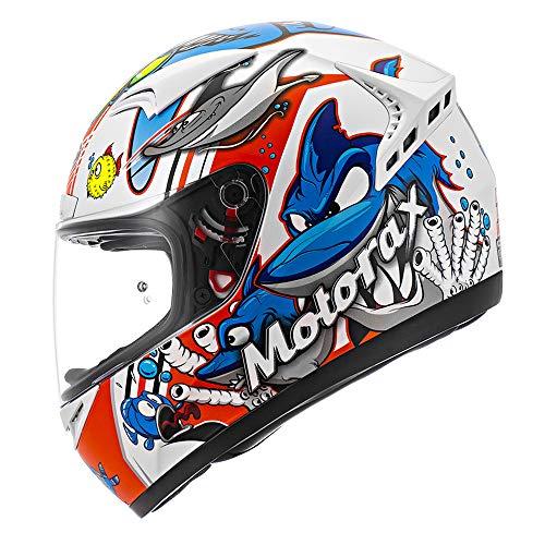 Motorax Full Face Motorcycle Helmet DOT Approved Adult Street Motorbike Safty Helmet (Sea Fish, L)