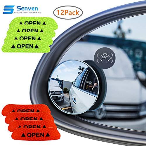 Senven aveugle miroir (paquet de 4) + Autocollant réfléchissant (paquet de 8), rétroviseur convexe étanche à 360 ° pour voitures universelles, Rétroviseur grand angle en verre HD grand format-12pcs