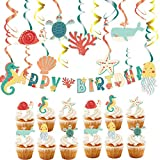 55 Pcs Ocean Animals Hanging Swirl Decorations Seashell Swirl Starfish Swirl Seahorse Spiral Tortoise Happy Birthday Banner Sea Creatures Cupcake Toppers for Ocean Birthday Theme Party Decorations