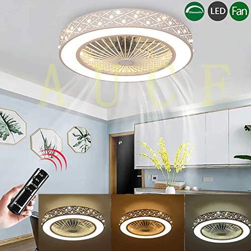 Ventilator Deckenleuchte Mit LED-Beleuchtung Und Fernbedienung Deckenventilator Leise Lüfter Licht 36W Dimmbare Deckenlampe Kinderzimmer Schlafzimmer Wohnzimmer Innen Deckenbeleuchtung (A)