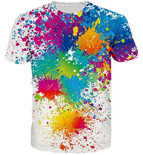Goodstoworld Bunte Malen Spritzen Shirt 3D T Shirt Druck Herren Damen Printed Sommer Lustig Hippie...