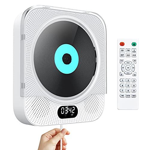 Lecteur CD Portable avec Bluetooth Lecteur CD Mural Gueray Haut-parleurs HiFi Intégrés avec écran LCD Audio Domestique Boombox Radio FM Lecteur de Musique MP3 USB