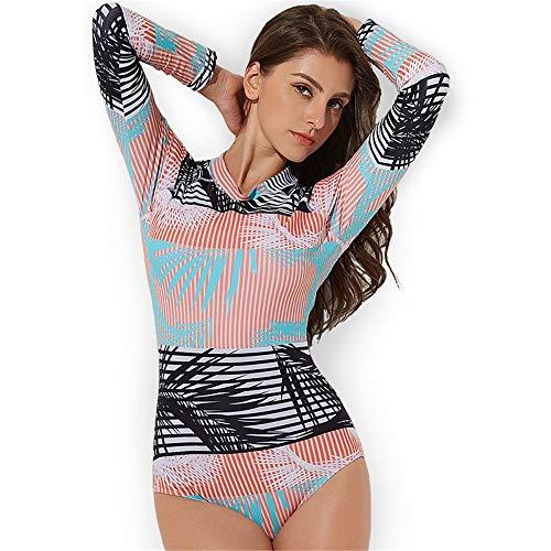 Eendelige zwemkleding Zwemkleding Vrouwen O-hals Print een zwempak Sunscreen Windbreaker Swimsuit Wetsuit Beachwear Feestvakantie (Color : Pink, Size : XL)