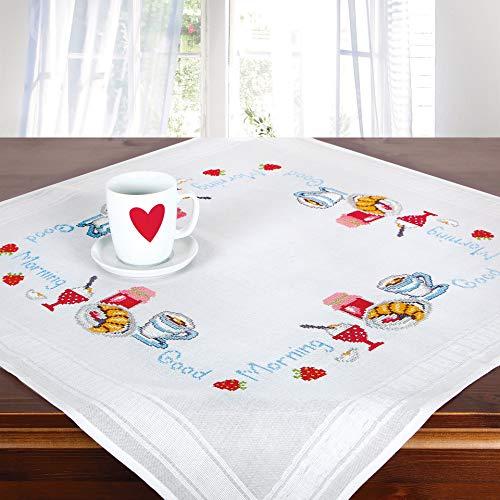 Stickpackung Good Morning, Kreuzstich Tischdecken Set vorgezeichnet zum Sticken, Stickset zum Selbersticken