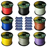 Harmony Audio Primary Single Conductor 14 Gauge Power or Ground Wire - 8 Rolls - 800 Feet - 8 Color Mix for Car Audio/Trailer/Model Train/Remote