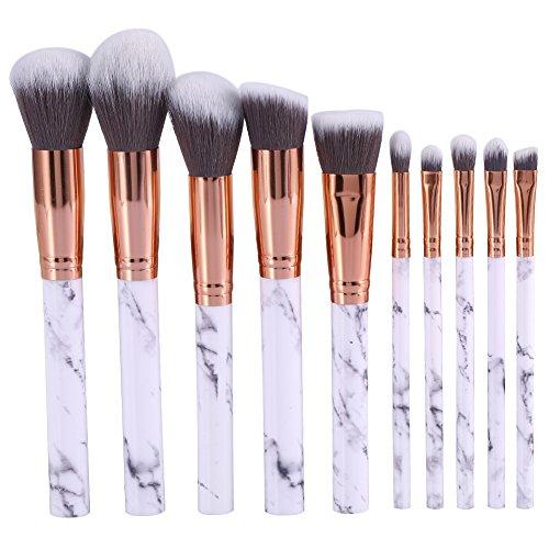Nuohuilekeji 10 pcs Pro Marbre Maquillage Cosmétique Poudre Fond de Teint Fard à paupières lèvres Lot de pinceaux de