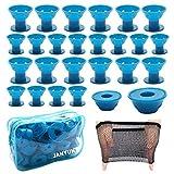 JANYUN 40 Pcs Blue Magic Silicone Hair Curlers with Bag and Haitnet