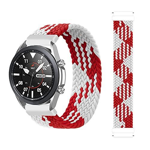 BoLuo 22mm Correa para Xiaomi Haylou RT LS05S/OnePlus Watch Bandas Correa,Nylon Reloj Recambio Brazalete Correa para Yamay Sw022/Imilab Kw66/Ticwatch GTX/CXB01/Polar Grit X/Vantage M/M2 (blanco rojo)