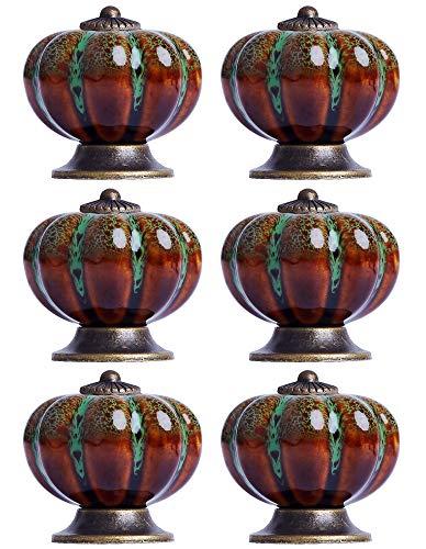 6 per Pack Knobs Pumpkin Vintage Ceramic Knob Cabinet Drawer Dresser Knobs for Home, Kitchen, Bathroom, Office and More - with 3 Kinds of Screws