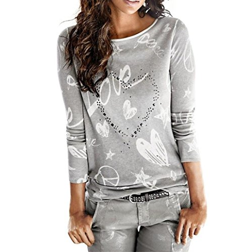 TWIFER Frauen Langarm Brief Gedruckt Shirt Casual Bluse Lose Baumwolle T-Shirt (M, Grau)