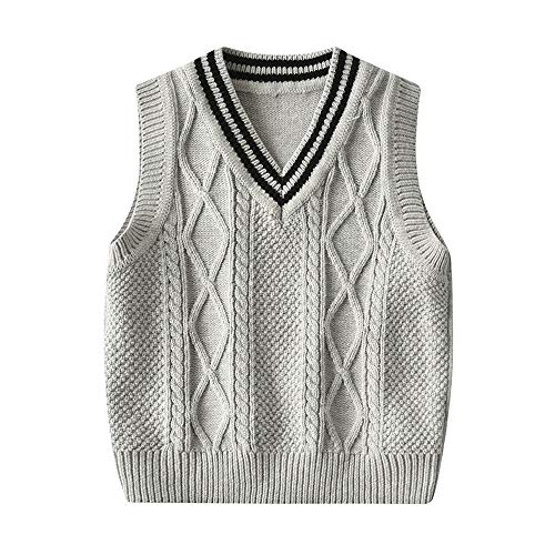 BeedooDoobee 1-6Years Chaleco Suéter Chaleco 100% Algodón Punto V Cuello Sin Mangas Pullover Knit Escuela Chaleco - gris - 100 cm