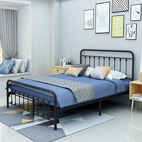 Metal Bed Frame Queen Size Victorian Vintage Style Headboard and Footboard No Box Spring Heavy Duty Steel Slat Mattress Foundation Black