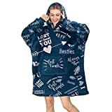 Best Friend Birthday Gifts for Women- Friend Wearable Blanket Sweatshirt, Funny BFF Gifts, Long Distance Friendship Gifts, One Size, Navy,PlushFleece
