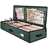 "ZOBER Premium Wrap Organizer, Interior Pockets, fits 18-24 Standers Rolls, Underbed Storage, Wrapping Paper Storage Box and Holiday Accessories, 40"" Long - Tear-Proof Fabric - 5-Year Warranty"