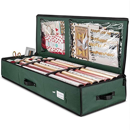 "Premium Christmas Gift Wrap Organizer, Interior Pockets, fits 18-24 Standers Rolls, Underbed Storage, Wrapping Paper Storage Box And Holiday Accessories, 40"" Long - Tear Proof Fabric - 5 Year Warranty"