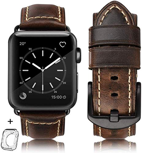 Compatible for apple Watch Band 42mm 44mm men,Top Grain Leather Band Replacement Strap iWatch Series 5/ 4 3 2 1,Sport, Edition. New Retro discoloured Leather (Retro coffee+Black Buckle, 42mm 44mm-ML)