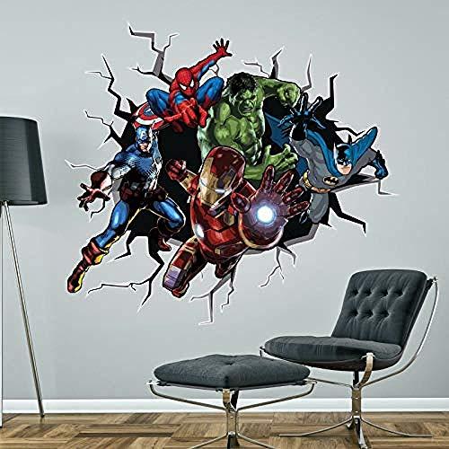 NYJNN WandtattooSuperhelden brechen durch Wandaufkleber BATMAN HULK SPIDERMAN KAPITÄN AMERIKA IRONMAN MARVEL Aufkleber Wandbild