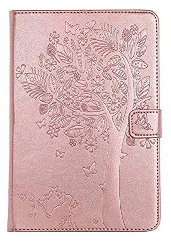 Tab Accessories for IPad Mini 1/2/3, Cat Tree Embossed PU Leather Wallet Stand Case with Auto Wake/Sleep Smart Cover Skin Shell IPad Mini 1/2/3 (Color : Rose gold)