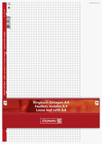 Ringbuch - Einlagen/Papier BRUNNEN 100 Blatt - 5 mm kariert mit Rand (Lineatur 26) - A4 (21,0 x 29,7 cm)