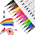 JUWINEN 12 Colors Artist Dual Tip Markers and Brush Highlighter Pen Set Watercolor Markers Pens for Adult and Children kids Coloring books Calligraphy pen Valentine's Day and Back To School Gifts