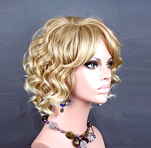 Awesome Lovely courte Perruque bouclée blond Style d'Eté Skin Top pour femmes Perruques Royaume-Uni