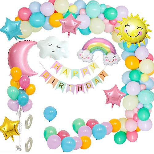 Geburtstag Party Dekoration Mädchen Pastell, Himmel Ballon Girlande Set mit Happy Birthday Girlande, Sonne Mond Wolken Regenbogen Ballon, Stern Herz Ballon für Mädchen Junge Frauen