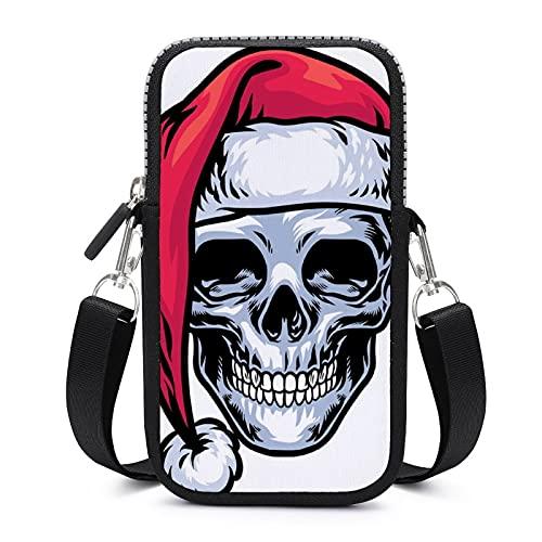 Bolso bandolera con correa extraíble para el hombro, diseño de calavera de Navidad, resistente al desgaste, para el dinero, pulsera de yoga, bolsas de mujer