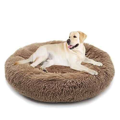 Fangqiyi Round Deluxe Haustierbett für Hunde und Katzen, mit Reißverschluss, leicht zu entfernen und zu waschen, Kissen für Katzen/Hunde, 60 cm-120 cm / 5 Größen