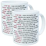 Wampumtuk Pack Of 2 Grammar Police Expletive and Rude 11 Ounces Funny Coffee Mug