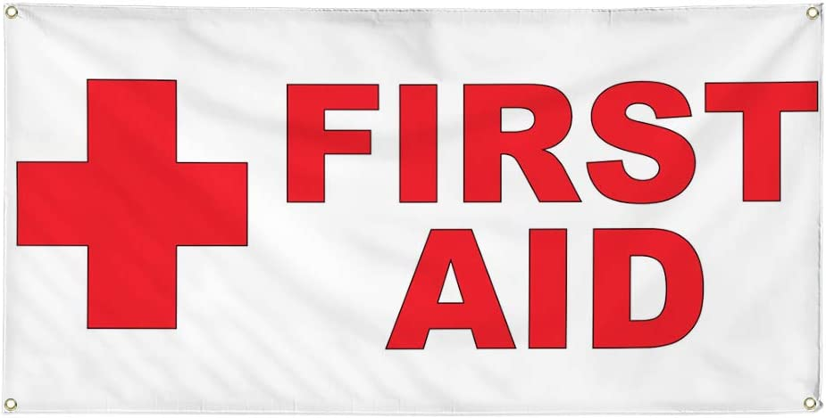 Vinyl Banner Multiple Sizes First Aid Red Health Me specialty shop service Horizontal