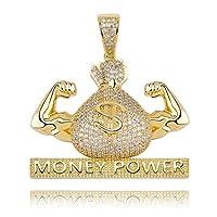 KMASAL ヒップホップチェーン アイスアウト 人工ダイヤモンド マネー ポイアペンダント ネックレス メンズ レディース