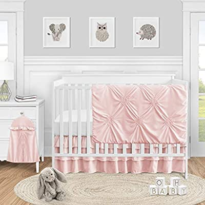 Sweet Jojo Designs Solid Color Blush Pink Shabby Chic Harper Baby Girl Crib Bedding Set 4 Pieces