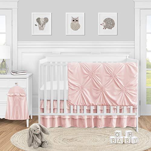 Sweet Jojo Designs Solid Color Blush Pink Shabby Chic Harper Baby Girl Crib Bedding Set 4 Pieces