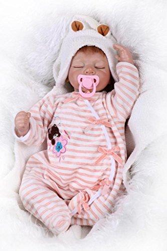 Nicery Reborn Baby Doll Réincarné bébé Poupée Doux Simulation Silicone Vinyle 22 Pouces 55cm Bouche Qui Semble Vivant Garçon Fille Jouet Vif réaliste Âge 3+ Pink Sleeping Bear Yeux Fermer