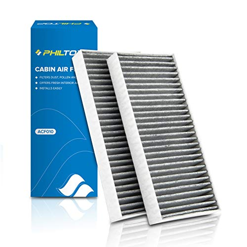 PHILTOP Cabin Air Filter, Replacement for CP388, CF10388, Armada, Titan, NV3500, QX56, Includes Activated Carbon, Pack of 2