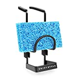 Hulisen soporte de esponja para fregadero de esquina, organizador de fregadero de cocina, organizador de fregadero, clip alrededor del soporte del grifo (negro)